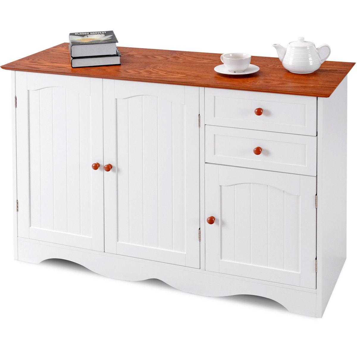 Gymax Buffet Storage Cabinet Console Table Kitchen Sideboardd Home Furni W/2 Drawers