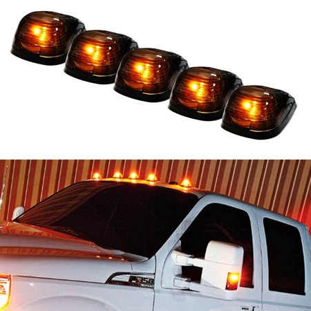 - iJDMTOY 5PCS Black Smoked LED Cab Roof Top Marker Running Lamps With Amber LED Lights For Ford F150 F250 F350 Dodge RAM GMC Sierra 1500 2500 Chevrolet Silverado Toyota Tundra Tacoma Truck SUV And More