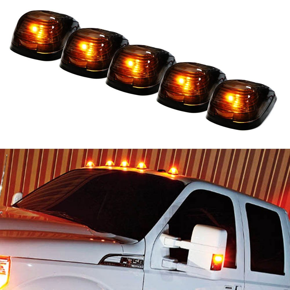 iJDMTOY 5PCS Black Smoked LED Cab Roof Top Marker Running Lamps With Amber LED Lights For Ford F150 F250 F350 Dodge RAM GMC Sierra 1500 2500 Chevrolet Silverado Toyota Tundra Tacoma Truck SUV And More