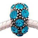 Buckets of Beads Floral Design Peacock Rhinestone Charm Bead, Blue (Rhinestone Peacock)