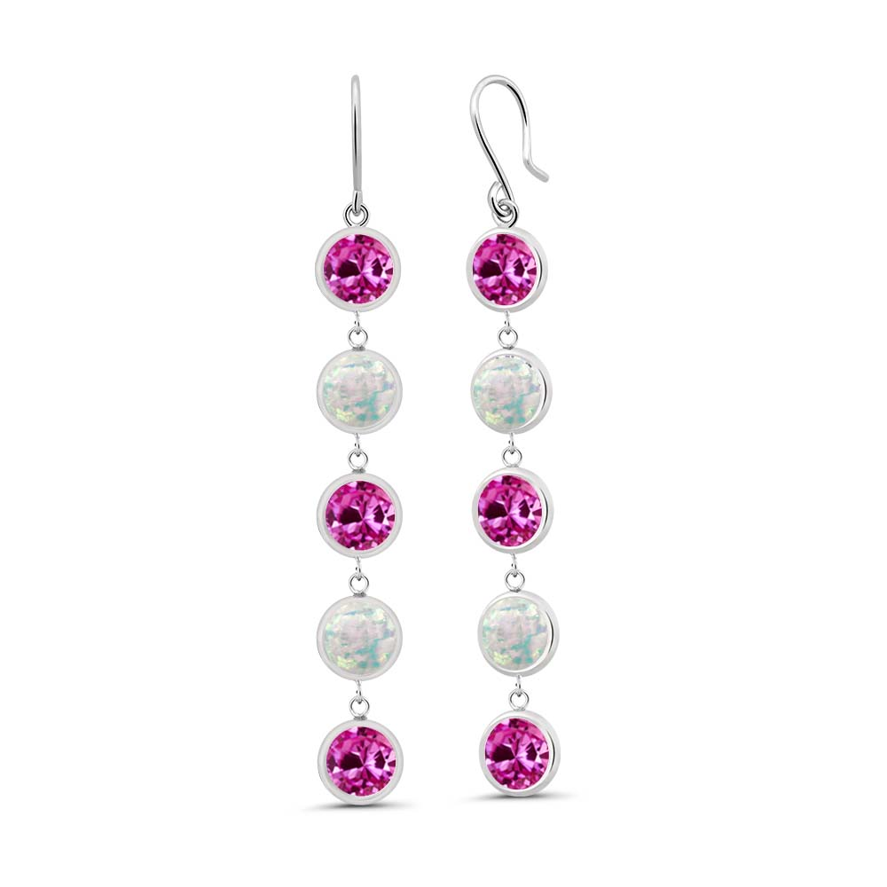 3.60 Ct Round Pink Created Sapphire Simulated Opal 925 Sterling Silver Earrings by