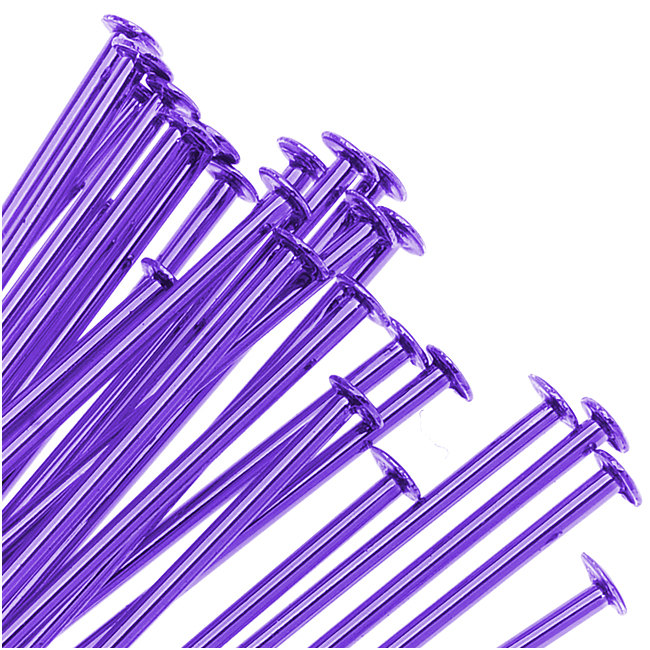Purple Color Brass  - Head Pins 2 Inch 21 Gauge (25)