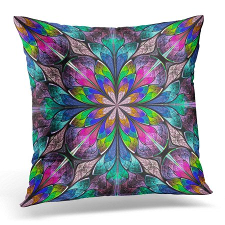 ARHOME Colorful Multicolored Floral in Stained Glass Window Style You It for Phone Cases and So on Artwork Pillow Case Pillow Cover 20x20 inch