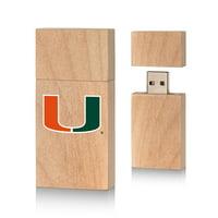 Miami Hurricanes Insignia 16gb Wood Block USB Drive
