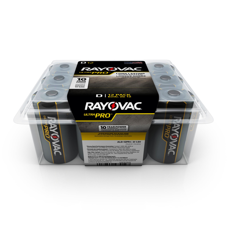 Rayovac UltraPro Alkaline, D Batteries, 12 Count
