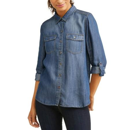 EV1 from Ellen DeGeneres woven denim shirt womens