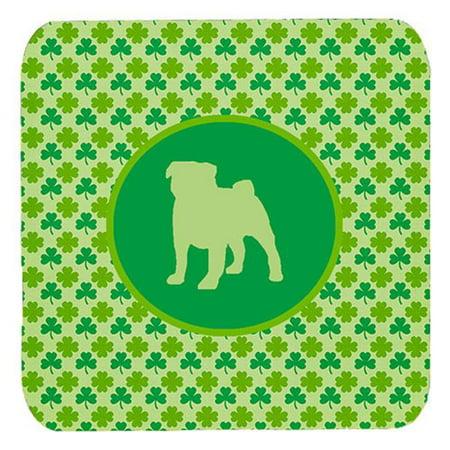 Pug Lucky Shamrock Foam Coasters, Set Of 4 - image 1 of 1