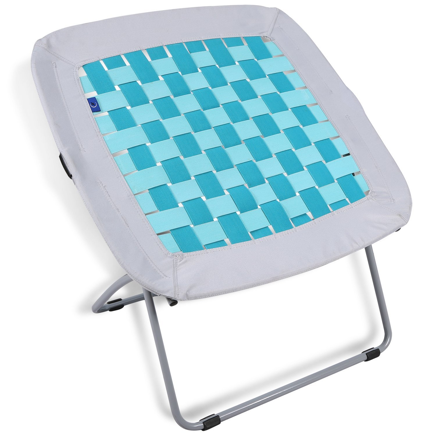 REDCAMP Folding Bungee Web Chair for Teens Kids Adults, 31x31.5x31.5 inches, White & Turquoise