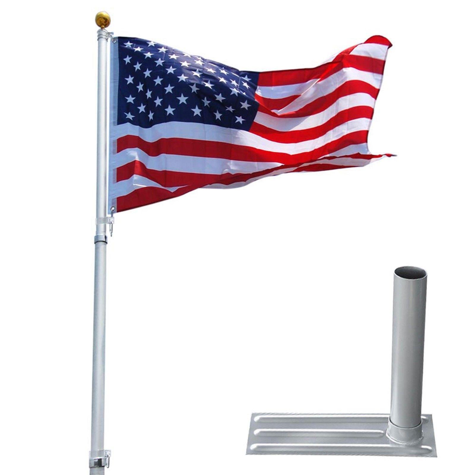GHP 20' Aluminum Telescoping Flag Pole w 3'x5' American F...