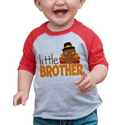 7 ate 9 Apparel Boy's Little Brother Thanksgiving Large Red Raglan