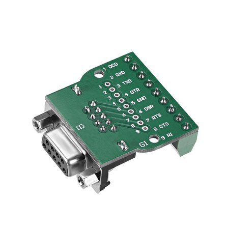 D-sub DB9 Breakout Board Connector 9 Pin 2 Row Female RS232 Serial Port Solderless Terminal Block Adapter with Positioni - image 3 de 4