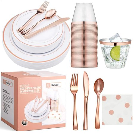 KWELLY Disposable Plastic Tableware Set | Includes Plates, Cutlery, Napkins & Cups for Dinner, Party, Bridal Shower, Birthday & Christmas | No BPA | 160 Pieces Rose Gold Fancy & Elegant Silverware ()