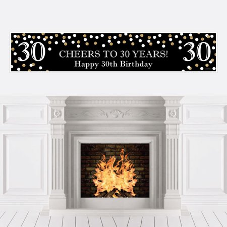 Adult 30th Birthday - Gold - Birthday Party Decorations Party Banner