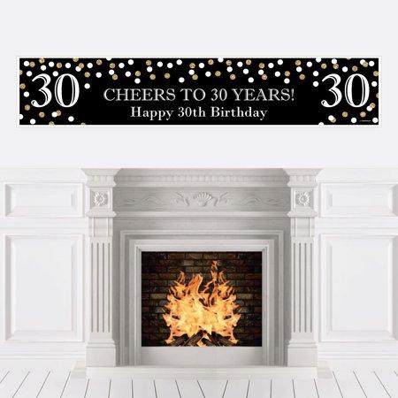 Adult 30th Birthday - Gold - Birthday Party Decorations Party Banner - 30th Birthday Decorations Black And White