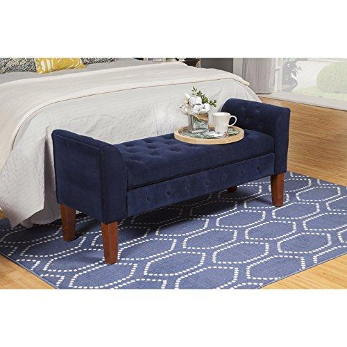 Modern Button Tufted Blue Velvet Upholstery Entryway Storage Bench with Solid Wood Legs