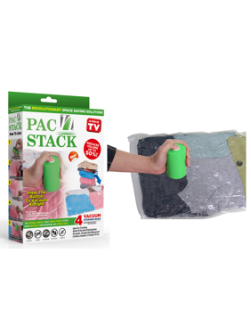 PAC 'N STACK - Handheld Vacuum Sealing Storage with Bags