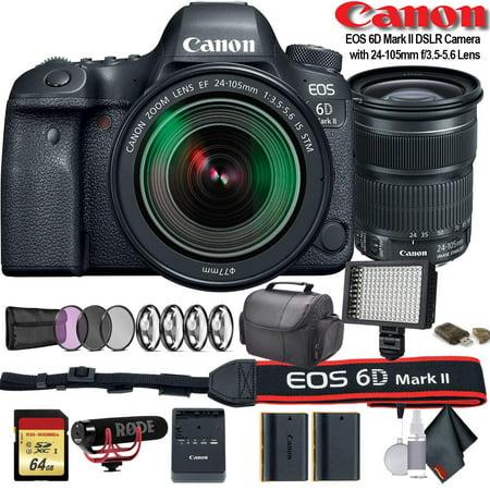 Canon EOS 6D Mark II DSLR Camera +24-105mm f/3.5-5.6 Lens (Intl Model) (1897C021