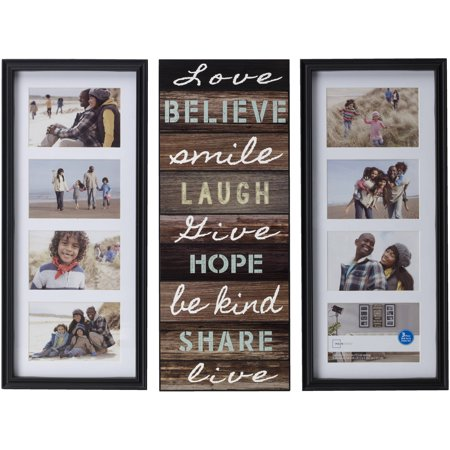 Mainstays 8-Opening Sentiment Picture Frames, Set of 3, Black