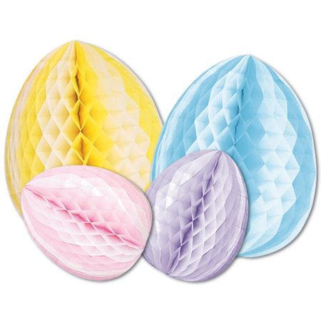 Club Pack of 12 Easter Themed Multi-Colored Honeycomb Tissue Egg Decorative Table Centerpieces 12