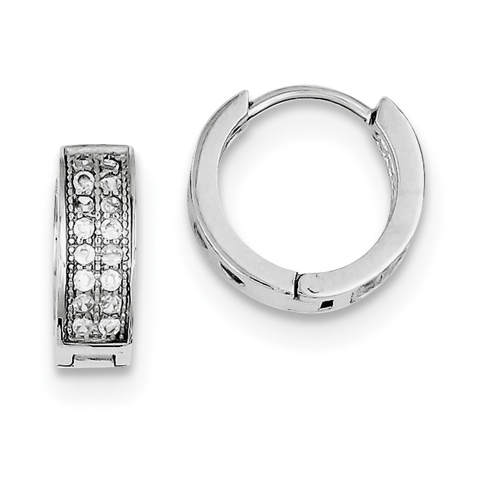 Sterling Silver CZ Polished 0.5IN Hinged Hoop Earrings (0.5IN x 0.5IN )