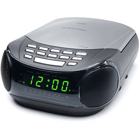 dual alarm clock with cd player and am fm radio. Black Bedroom Furniture Sets. Home Design Ideas