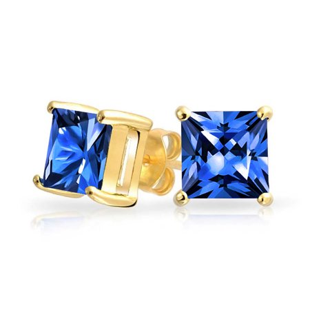 2CT Blue Square Cubic Zirconia Brilliant Princess AAA CZ Stud Earrings 14K Gold Plate Sterling Silver Simulated Sapphire 4mm Sapphire Stud Earrings