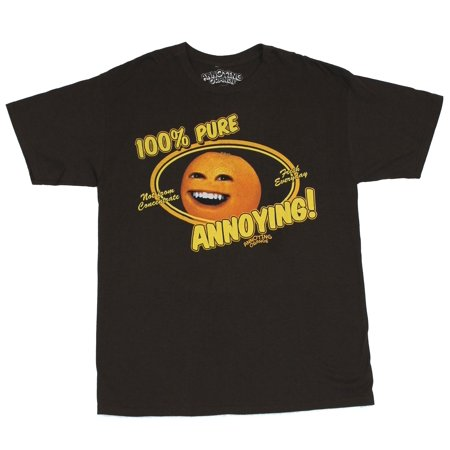 Annoying Orange Mens T-Shirt  - 100% Pure Annoying Image on Brown