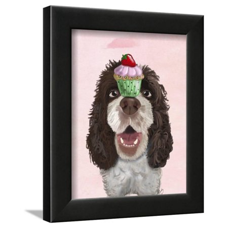 Springer Spaniel with Cupcake Framed Print Wall Art By Fab