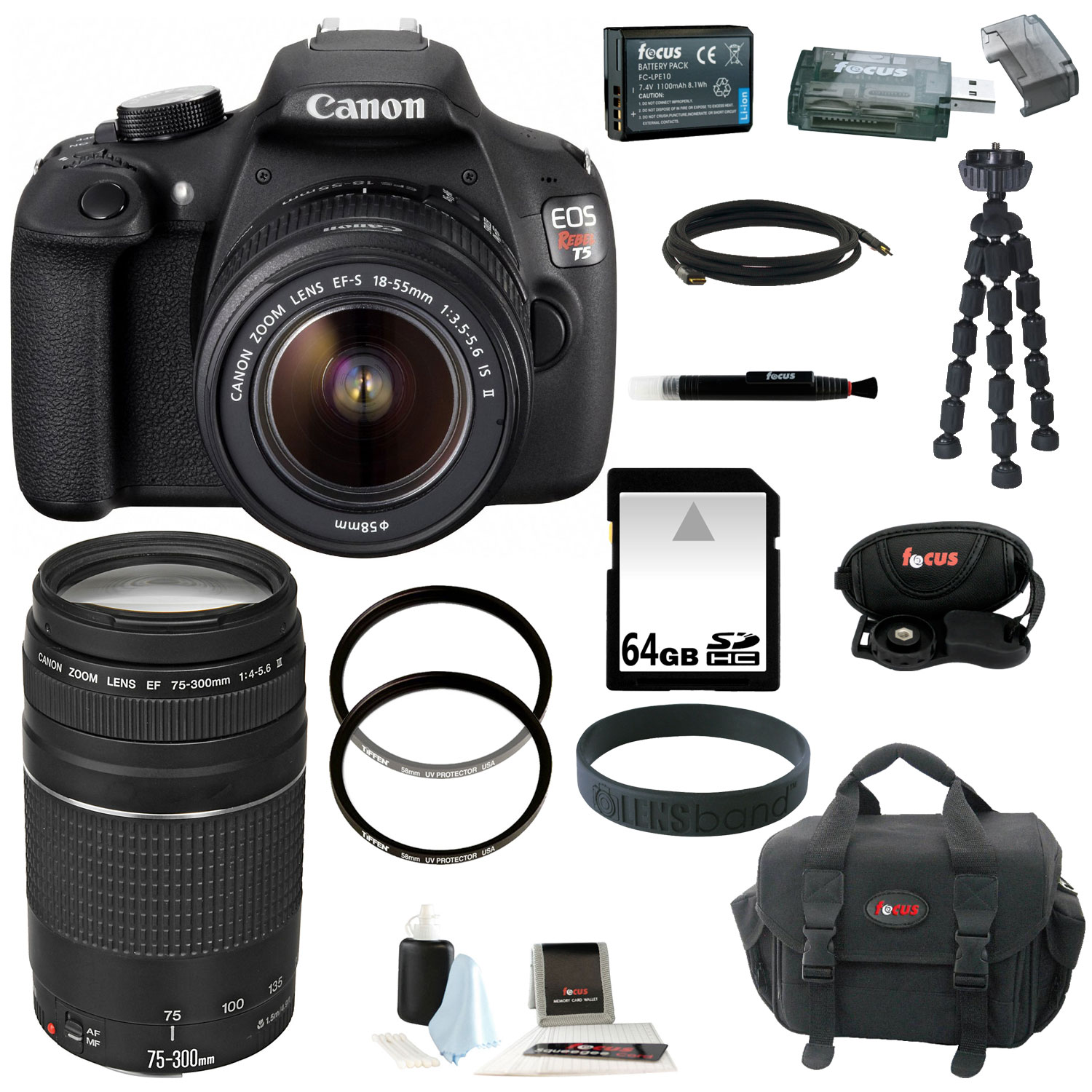 Canon EOS Rebel T5 DSLR Camera with 18-55mm and 75-300mm Lens Bundle and 64GB Deluxe Accessory Kit