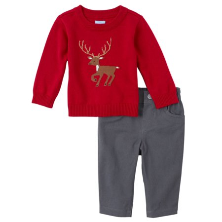 Childrens Place Infant Boys Outfit Red Deer Sweater & Gray Pants Set This handsome baby boys outfit features a red sweater with a deer design and gray pants. Perfect for any special occasion!2 Piece OutfitSize: Infant BoysSweater: 100% cottonPants 100% cottonPerfect for any special occasionBrand: The Childrens Place