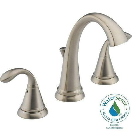 """Delta 35706LF-SS-ECO Zella 8"""" Widespread 2 Handle Bathroom Faucet Brushed Nickel"""