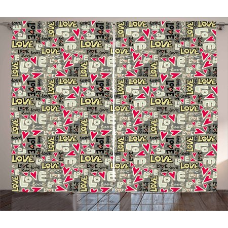Love Curtains 2 Panels Set, Retro Colors Graffiti Style Texts Design Hearts Grunge Display Street Art Inspired, Window Drapes for Living Room Bedroom, 108W X 84L Inches, Multicolor, by Ambesonne