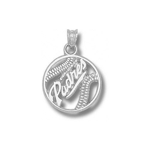 "MLB - San Diego Padres 5/8"" Sterling Silver ''PADRES'' Pierced Baseball Pendant"