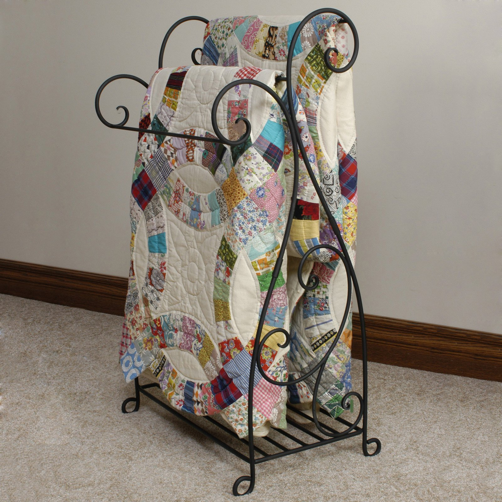 expand isabella metal p racks quilt rack aged click gold to blanket