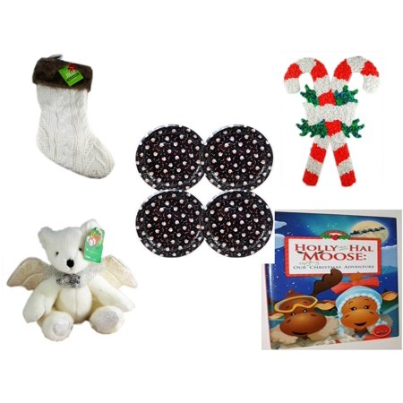 - Christmas Fun Gift Bundle [5 Piece] - Be Jolly Faux Fur White Cable Knit  Stocking 20