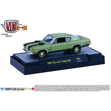 1969 PLYMOUTH 'CUDA 440 * Detroit Muscle Release 32 * M2 Machines 2015 Castline Premium Edition 1:64 Scale Die-Cast Vehicle & Display Case Set ( R32 15-60