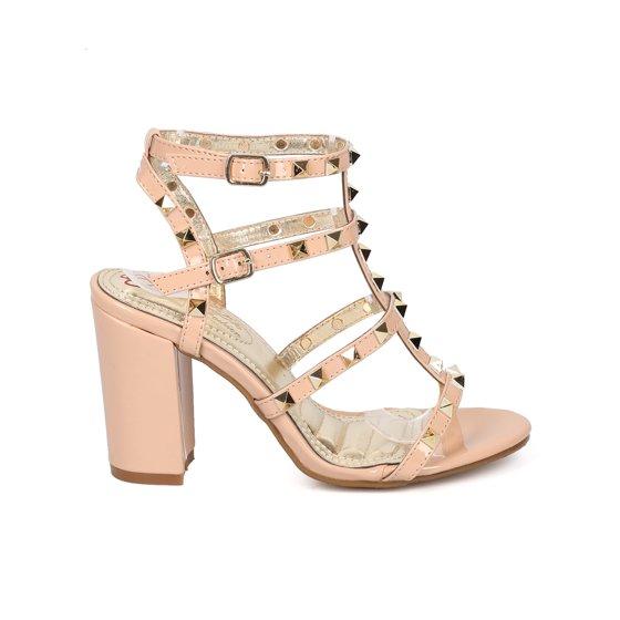 79e2950255 DbDk - Women Patent Leatherette Open Toe Strappy Studded Block Heel ...