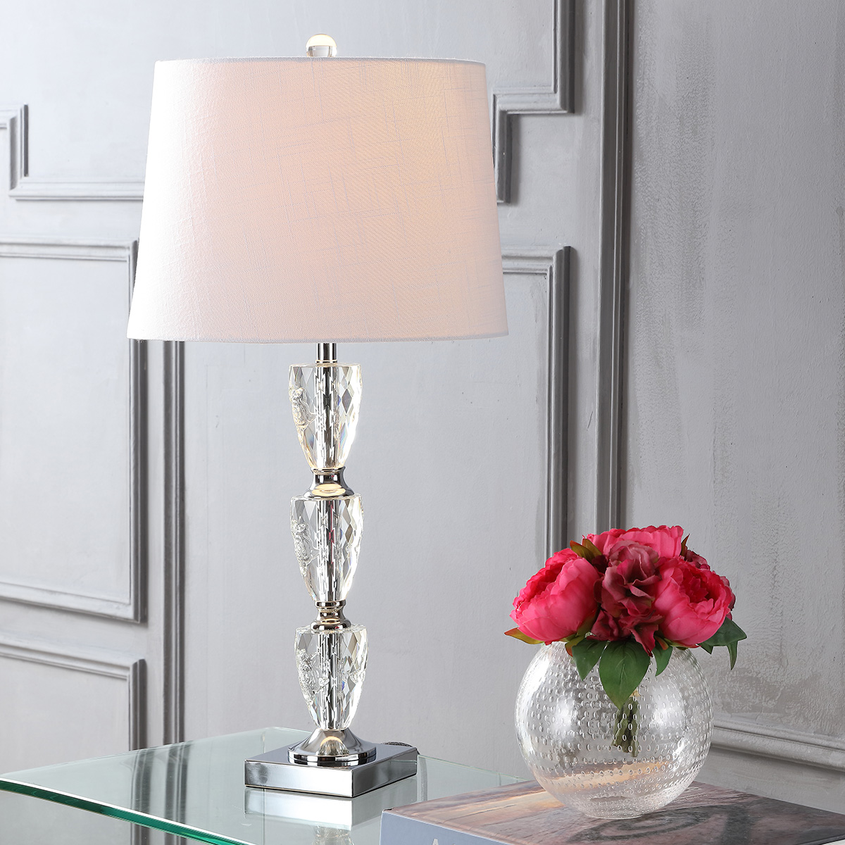 "Ellie 28"" Crystal LED Table Lamp, Clear"