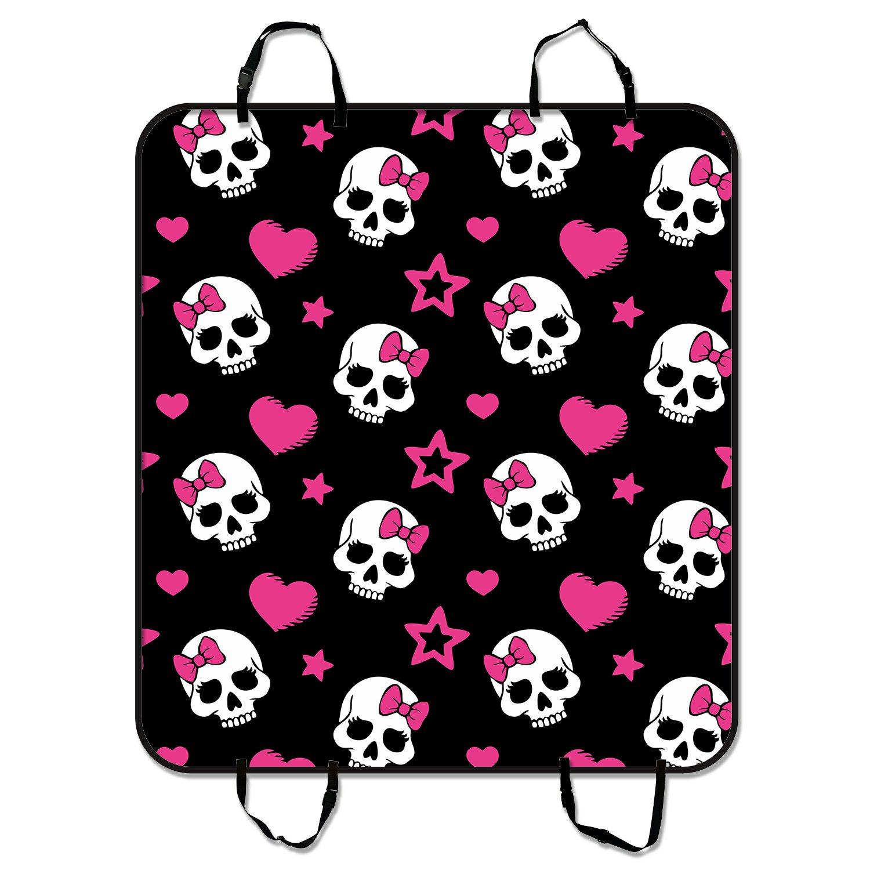 GCKG Pink Bowknot Love Skull Pet Car Seat Cover Dog Car S...