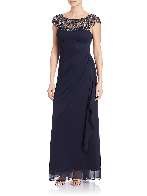 Embellished Mock Wrap Gown