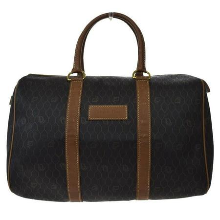 Oblique Signature Monogram Duffle Boston 865966 Brown X Black Canvas Leather Weekend/Travel Bag