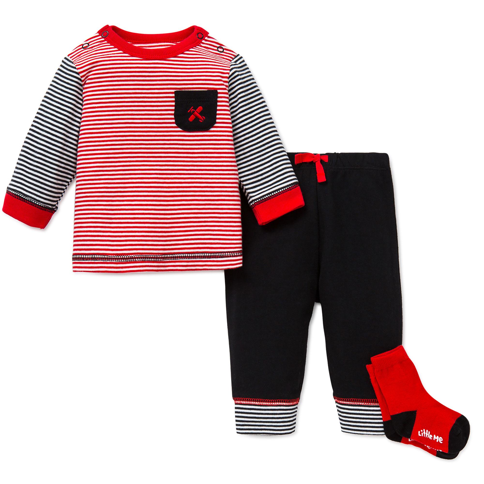 Little Me 3 Piece Pants Long Sleeve Shirt and Socks
