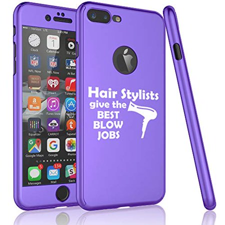 360° Full Body Thin Slim Hard Case Cover + Tempered Glass Screen Protector for Apple iPhone Hair Stylists Give The Best Blow Jobs Funny Hairdresser (Purple, for Apple iPhone 6 Plus / 6s