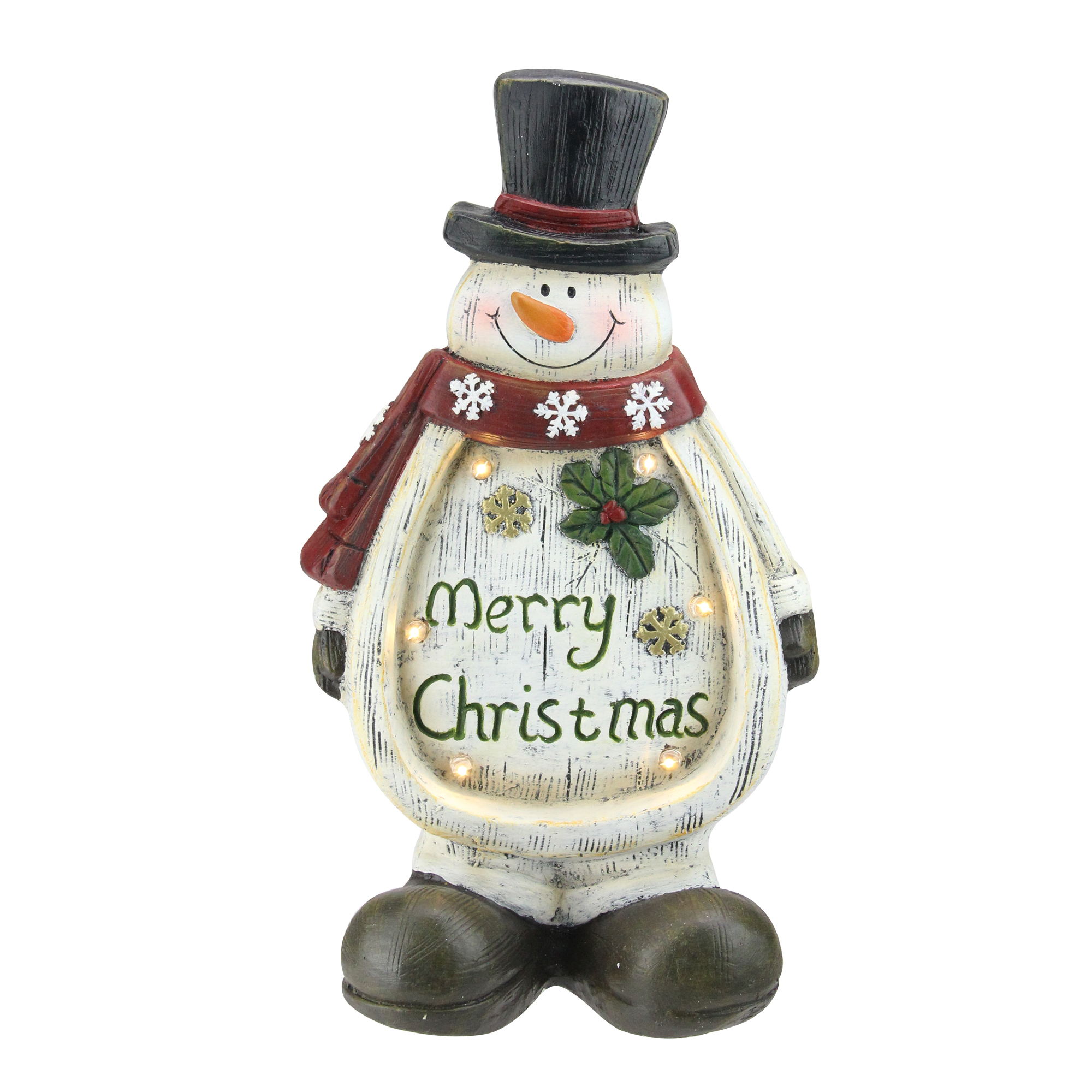 "14.5"" LED Lighted Weathered Snowman Table Top Christmas Decoration"