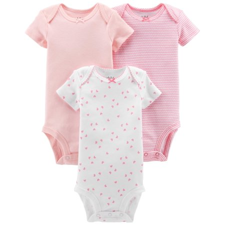 Child Of Mine By Carter's Basic Short Sleeve Bodysuits, 3-pack (Baby Girls) (Carters Baby Halloween Clothes)