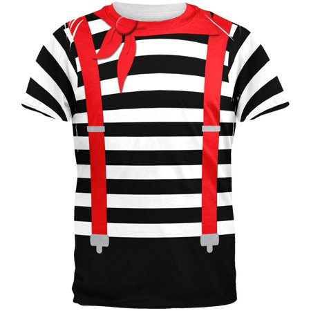 Halloween French Mime Costume All Over Adult T-Shirt](50th France Halloween)