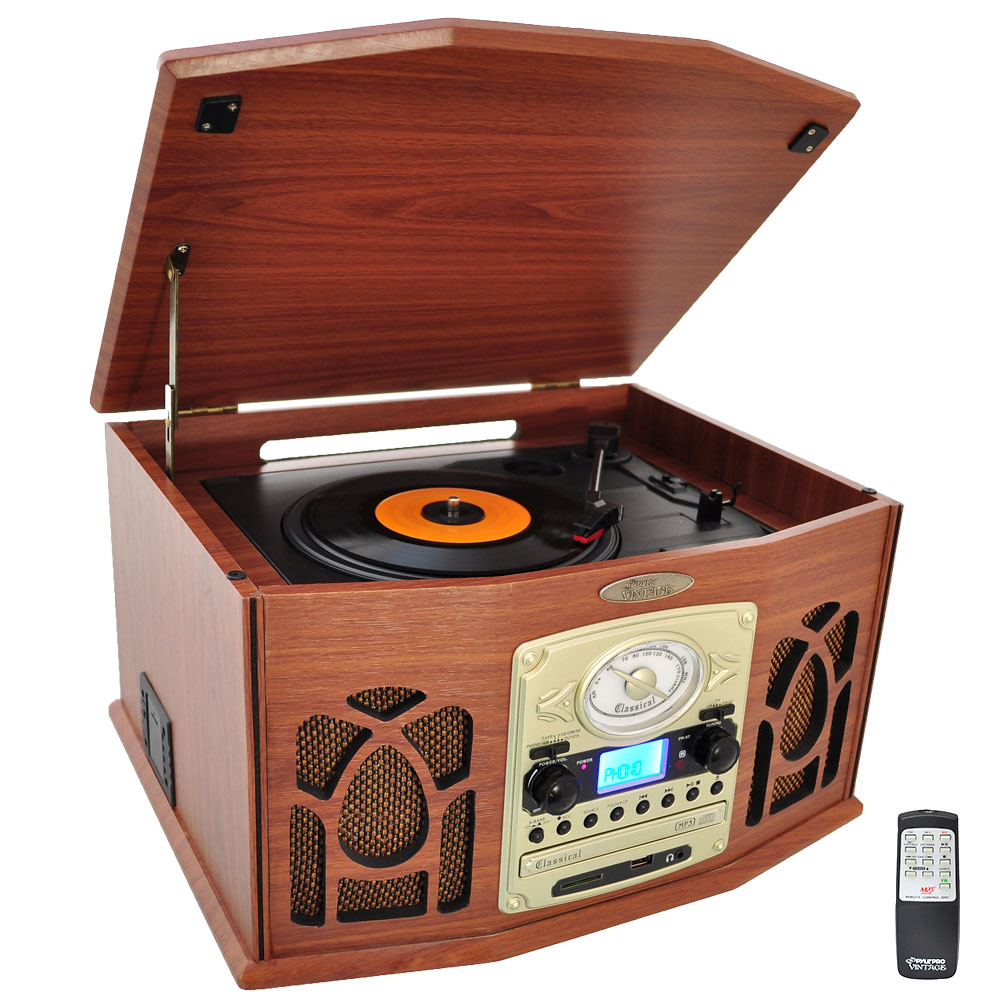 Pyle PTCDS7UIW - Vintage Classic-Style Turntable System with Built-in Speakers, AM/FM Radio, CD & Cassette Players, USB/SD Readers, Vinyl-to-MP3 Recording