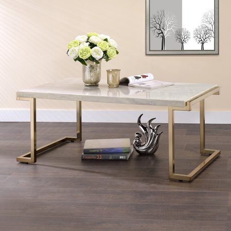 Faux Marble Flooring - ACME Boice II Coffee Table, Faux Marble and Champagne