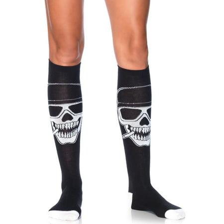 Women's Biker Babe Skeleton Knee High Socks, Black/White, One Size