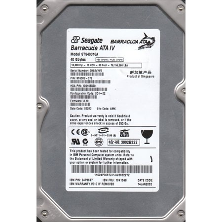 ST340016A, 3HS, AMK, PN 9T6002-076, FW 3.10, Seagate 40GB IDE 3.5 Hard Drive Compatible Ricoh 40gb Hard Drive